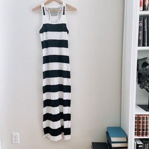 White & Black Wide Stripe Fitted Maxi Summer Dress